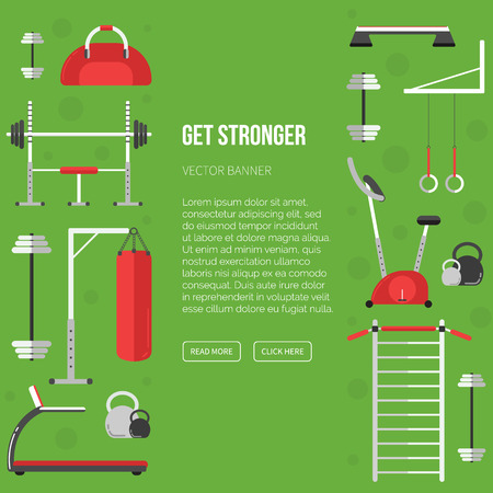 Sport equipment flat banner template. Gym training, bodybuilding, healthy and active lifestyle, fitness elements. Fitness gym sport club vector flyer. Athlete and sport tools. Bicycle, ladder, fitball Illustration