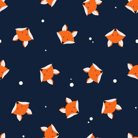 かわいいキツネ シームレス パターンです。かわいい漫画のベクトル フォックス シームレス パターン。暗い背景にオレンジ色の狐の頭。印刷、テキ  イラスト・ベクター素材