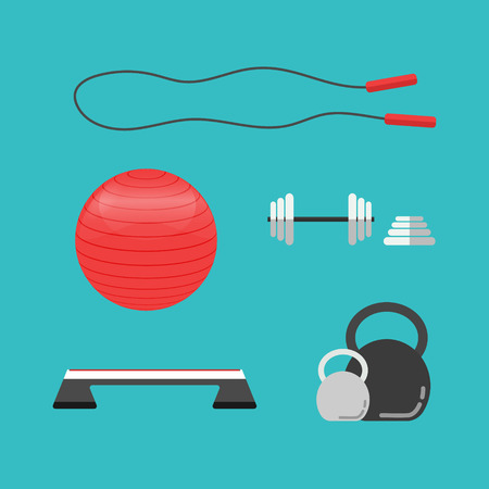 step fitness: Set of flat sports equipment icons for gym training, bodybuilding and active lifestyle, fitness elements isolated on background. Vector Treadmill, barbell, dumbbell, fitball, stepper, skipping rope