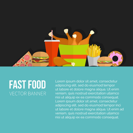 menu restaurant: Fast Food Vector Concept banner. Lunch french fries, chicken, donut, pizza, burger, soda. Flat design cheeseburger, hamburger and restaurant menu elements. Vector poster of unhealthy fast food eating