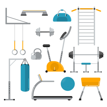 stepper: Sport equipment flat icons isolated on white. Gym training, bodybuilding and active lifestyle, fitness elements. Fitness gym sport club vector icons. Athlete and sport tools. Bicycle, ladder, fitball