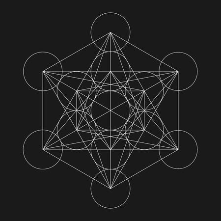 cubo: El cubo de Metatron. La flor de la vida. Geométrica del vector símbolo aislado. Sagrada figura geométrica llamada Metatrons Cubo. Santo Glifo.