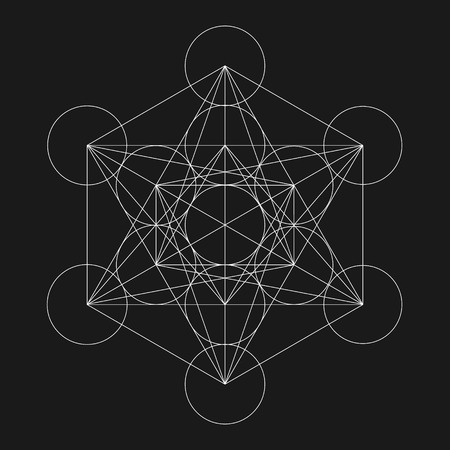 flower of life: Metatrons Cube. Flower of life. Vector Geometric Symbol isolated. Sacred Geometric Figure named Metatrons Cube. Holy Glyph. Illustration