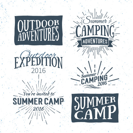 Vintage summer camp badges and outdoor adventure logos, emblems and labels. Camping Vector typographic retro Design Element. Holiday camping lettering for invitation, greeting card, prints and posters