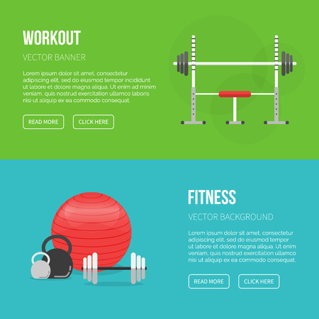 Sport equipment flat banner template. Gym and Fitness Club. Gym training, bodybuilding, healthy and active lifestyle, fitness elements. Fitness gym sport club vector flyer. Athlete and sport tools.