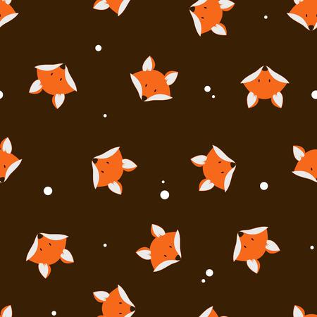 caras chistosas: zorros lindo sin fisuras vector patr�n. Vector de dibujos animados lindo zorro patr�n transparente. La cabeza de zorro naranja sobre fondo oscuro. Bueno para la impresi�n, textil, papel pintado, decoraci�n. silueta de Fox.