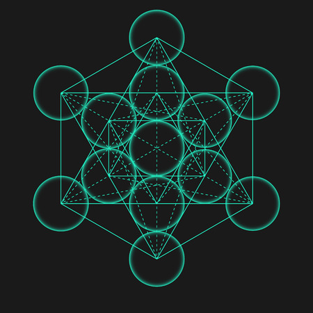 universal enlightenment: Metatrons Cube. Flower of life. Vector Geometric Symbol isolated. Sacred Geometric Figure named Metatrons Cube. Holy Glyph. Illustration