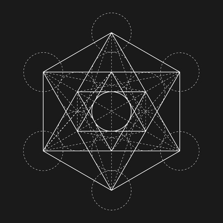 glyph: Metatrons Cube. Flower of life. Vector Geometric Symbol isolated. Sacred Geometric Figure named Metatrons Cube. Holy Glyph. Illustration