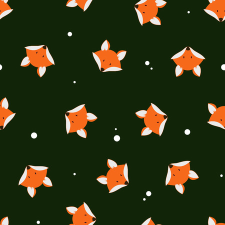 fur: Cute foxes seamless vector pattern. Vector cute cartoon fox seamless pattern. Orange foxs head on dark background. Good for print, textile, wallpaper, decoration. Fox silhouette.