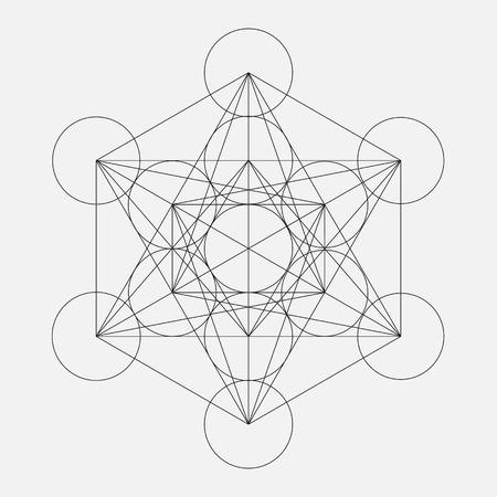 El cubo de Metatron. La flor de la vida. Geométrica del vector símbolo aislado. Sagrada figura geométrica llamada Metatrons Cubo. Santo Glifo. Ilustración de vector