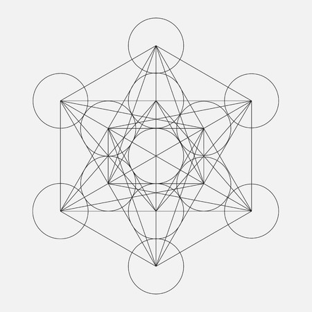 Metatrons Cube. Flower of life. Vector Geometric Symbol isolated. Sacred Geometric Figure named Metatrons Cube. Holy Glyph. Иллюстрация