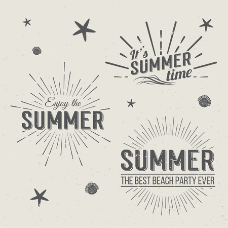 sun burst: Set of Summer Time  Templates. Isolated Typographic Design Label. Summer Holidays lettering for invitation, greeting card, prints and posters. Summer party Vector template. Enjoy The Summer. Illustration