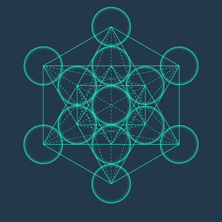 mysticism: Metatrons Cube. Flower of life. Vector Geometric Symbol isolated. Sacred Geometric Figure named Metatrons Cube. Holy Glyph. Illustration