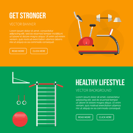 sport equipment: Sport equipment flat banner template. Gym and Fitness Club. Gym training, bodybuilding, healthy and active lifestyle, fitness elements. Fitness gym sport club vector flyer. Athlete and sport tools.