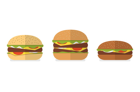 white bread: Set of different types of bread for burgers, hamburgers, cheeseburgers. White bread, wheat bread, wholegrain bread, rye bread. Vector burger icons. Menu design elements.
