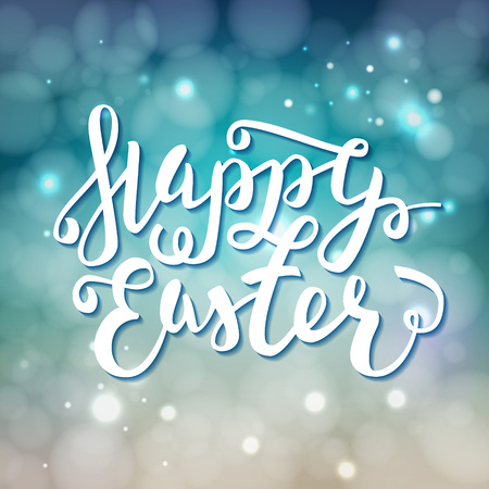 Happy Easter greeting card. Hand Drawn lettering Calligraphic Design Label on defocus background. Easter Holidays lettering for invitation, greeting card, prints and posters. Vector Typographic design