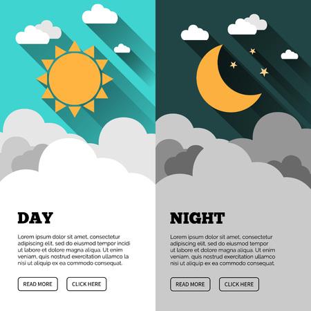 Zon, maan, sterren en wolken banner. Dag en nacht tijd vectorconcept banner. Sunny Day flyer. Star Moon Night flyer. Vector achtergrond. Forecast begrip banner.