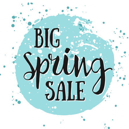 Big Spring SALE watercolor banner with ink splashes. Big Spring SALE poster. Vector illustration. Seasonal Clearance. Best Offer, low spring price. Big Seasonal Spring Sale offer. Spring Shopping Sale