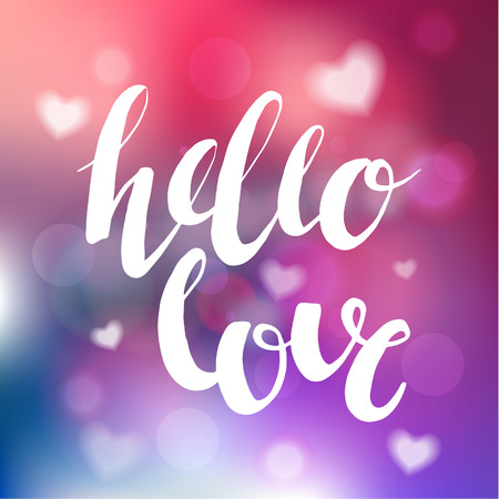 Hand Brush Lettering On The Blurred Background With Hearts. Vector Design  Element For Valentines Day