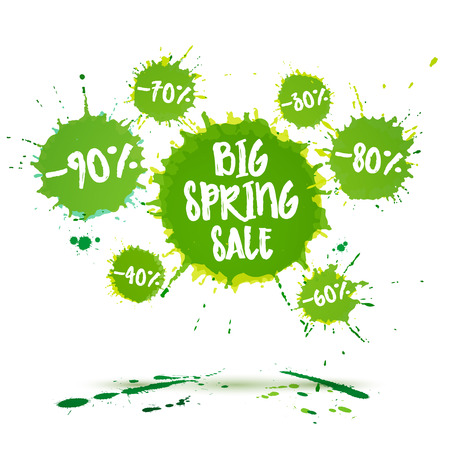 ink drop: Big spring sale poster and spring sale banner. Vector watercolor banner with ink splashes. Sale badge. Vector illustration. Special offer and Big spring clearance offer.