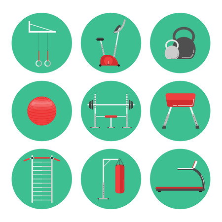 stepper: Sport equipment flat icons isolated on white. Gym training, bodybuilding and active lifestyle, fitness equipment. Fitness gym sport club vector icons. Sport equipment icons isolated. Athlete and Sport