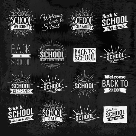 Back to School Calligraphic Designs Label On Chalkboard. Retro Style Elements. Chalk lettering Back to School. Vintage Style Back to School Hot Deals Design Layout In Vector. Logo Lettering poster. Ilustracja
