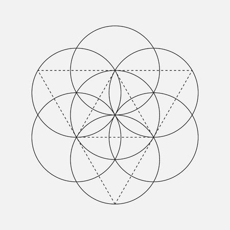 Fleur de signe de vie. Vecteur isolé Symbole géométrique avec des cercles. Cube de Metatron. glyphe géométrique sacré. symbole sacré saint. emblèmes de la géométrie sacrée Banque d'images - 54147328