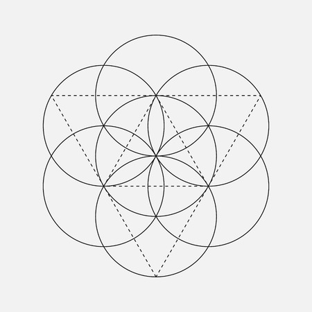 Flower of Life sign. Vector isolated Geometric Symbol with circles. Metatron's Cube. Sacred Geometric glyph. Holy sacred symbol. Sacred Geometry emblems