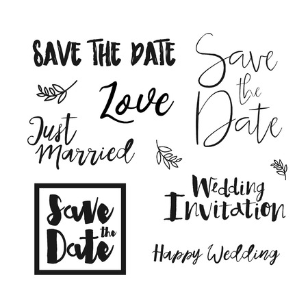 typo: Save The Date Wedding invitation labels. Save The Date lettering. Save the date templates, wedding invitation with hand drawn lettering Isolated. Save the date template. Vector Save the date card.