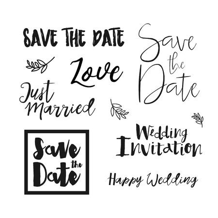 Sparen de uitnodiging van labels Huwelijk van de Datum. Sparen de belettering van de Datum. Sparen de datum templates, trouwkaart met de hand getekende letters geïsoleerd. Sparen de datum template. Vector Sparen de datum kaart.
