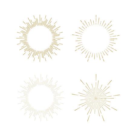 Retro Sun burst shapes. Vintage starburst logo, labels, badges. Sunburst minimal logo frames. Vector firework design elements isolated. Sun burst light logo. Minimal vintage gold firework burst. Vectores
