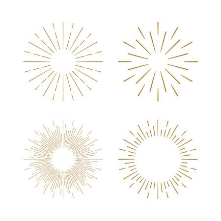 Retro Sun burst shapes. Vintage starburst logo, labels, badges. Sunburst minimal logo frames. Vector firework design elements isolated. Sun burst light logo. Minimal vintage gold firework burst.  イラスト・ベクター素材