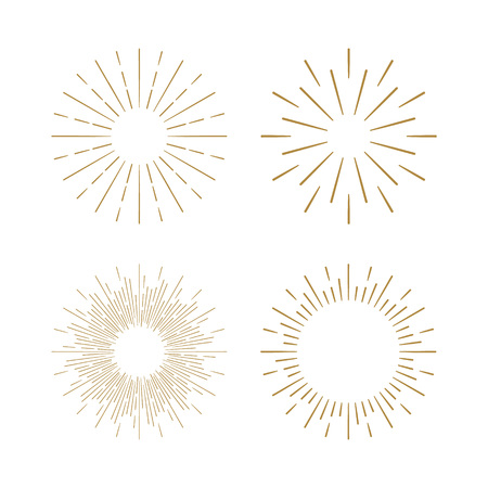 Retro Sun burst shapes. Vintage starburst logo, labels, badges. Sunburst minimal logo frames. Vector firework design elements isolated. Sun burst light logo. Minimal vintage gold firework burst. Çizim