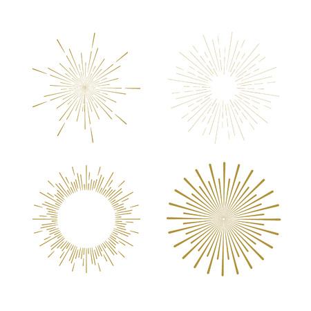 starshine: Retro Sun burst shapes. Vintage starburst logo, labels, badges. Sunburst minimal logo frames. Vector firework design elements isolated. Sun burst light logo. Minimal vintage gold firework burst. Illustration