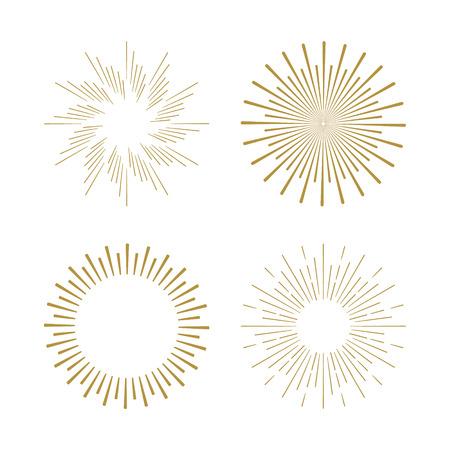 Retro Sun Burst-Formen. Vintage-Starburst-Logo, Etiketten, Abzeichen. Sunburst minimal Logo Rahmen. Vector Feuerwerk-Design-Elemente isoliert. Sun-Explosion Licht-Logo. Minimal Vintage Gold Feuerwerk platzen.