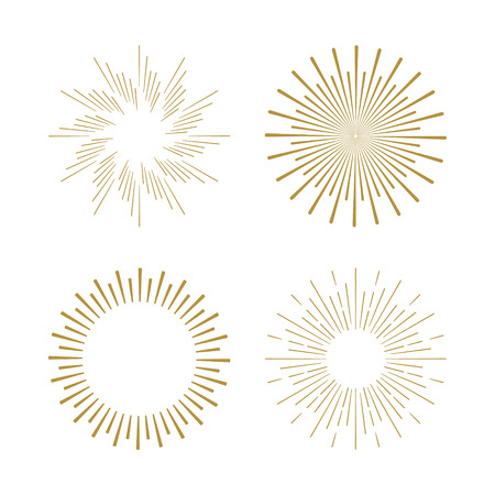 Retro Sun burst shapes. Vintage starburst logo, labels, badges. Sunburst minimal logo frames. Vector firework design elements isolated. Sun burst light logo. Minimal vintage gold firework burst. Иллюстрация
