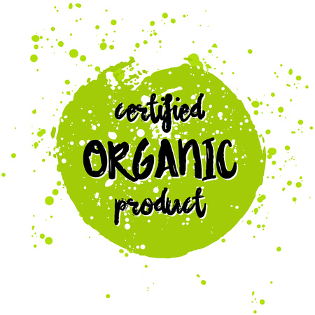 go green logo: Go green Eco icon and bio sign on watercolor stain. Vector banner 100% natural organic food concept. Farm Fresh logo and Certified Organic Product emblem. Natural Vegetarian food and Vegan food label Illustration
