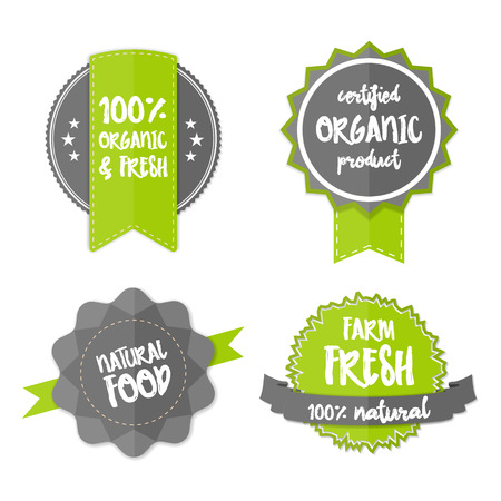 organic farm: Set of Fresh Organic Labels and Elements. Vector farm green stickers. Eco green signs, vector bio labels. 100% natural organic concept banner. Flat logos with natural organic food lettering concept.