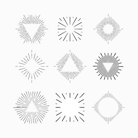 sunburst: Tribal boho style Sun burst shape with place for your text. Vintage starburst logo, label, badge. Sunburst minimal logo frame. Vector firework burst design element. Minimal vintage Sunburst light logo