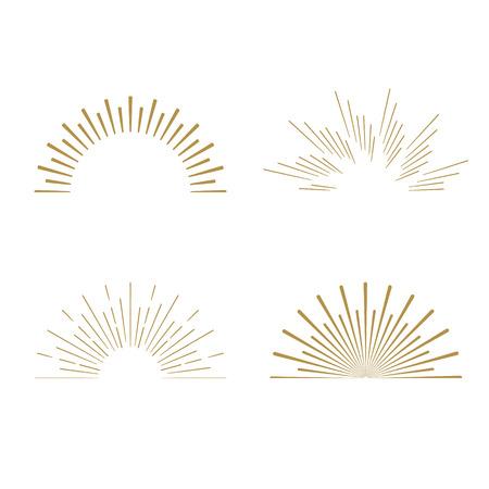 Retro Sun burst shapes. Vintage starburst logo, labels, badges. Sunburst minimal logo frames. Vector firework design elements isolated. Sun burst light logo. Minimal vintage gold firework burst icon