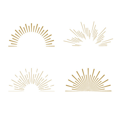 Retro Sun burst shapes. Vintage starburst logo, labels, badges. Sunburst minimal logo frames. Vector firework design elements isolated. Sun burst light logo. Minimal vintage gold firework burst icon Фото со стока - 55017635