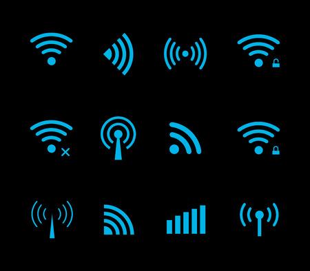 Neon futuristic vector wireless and wifi icon for remote access and communication via radio waves. Wireless logo. Set of indicators. Wi-fi logo. Remote icon. Bar element, internet load. Free wifi icon Illustration