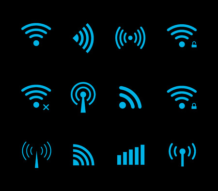 Neon futuristic vector wireless and wifi icon for remote access and communication via radio waves. Wireless logo. Set of indicators. Wi-fi logo. Remote icon. Bar element, internet load. Free wifi icon Illustration