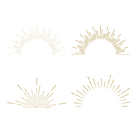 레트로 태양 모양 버스트. 빈티지 스타 버스트 로고, 라벨, 배지. 햇살 최소한의 로고 프레임. 벡터 불꽃 디자인 요소입니다. 태양 빛 로고 버스트. 최소 빈티지 골드 불꽃 버스트 아이콘
