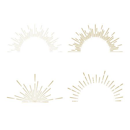 sunshine: Retro Sun burst shapes. Vintage starburst logo, labels, badges. Sunburst minimal logo frames. Vector firework design elements isolated. Sun burst light logo. Minimal vintage gold firework burst icon