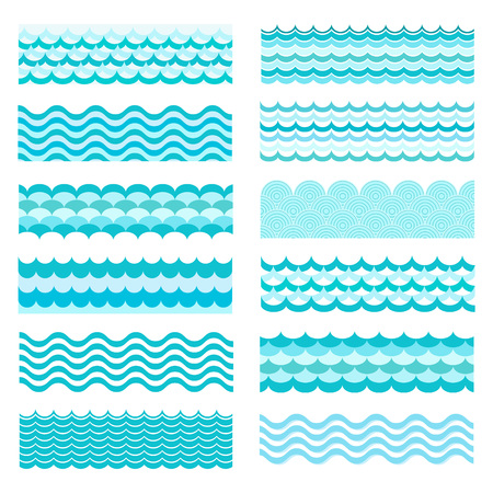 Colección de olas marinas. ondulado mar, diseño del arte de agua del océano. Ilustración del vector. Modelo de onda del mar. Océano textura vector de onda. Tipos de ondas de agua. onda río, patrón de dibujos animados. Ilustración de vector