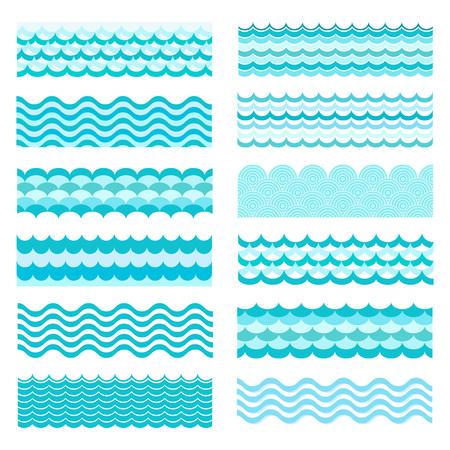 Colección de olas marinas. ondulado mar, diseño del arte de agua del océano. Ilustración del vector. Modelo de onda del mar. Océano textura vector de onda. Tipos de ondas de agua. onda río, patrón de dibujos animados. Vectores