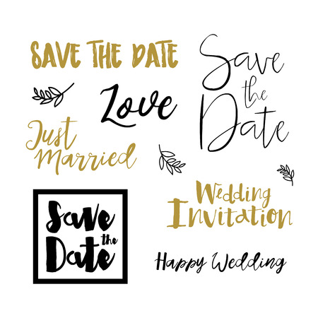 vintage card: Save the date hand drawn lettering. Gold, black and white color style for design wedding invitation, photo overlay, scrapbook and save the date card. Save the date vector invitation template Isolated