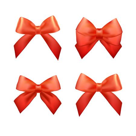 moños navideños: Cintas conjunto para los regalos de Navidad. Vector rojo arcos de regalo con cintas. cintas de regalo de color rojo y arcos para celebrar el Año Nuevo. Cintas de la Navidad, regalos de Navidad. cintas de cumpleaños, regalos de cumpleaños.