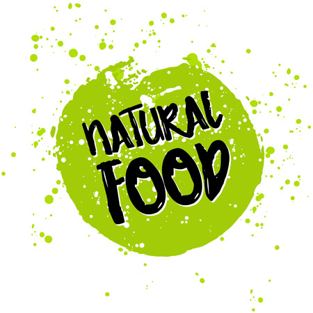 green eco: Go green Eco icon and bio sign on watercolor stain. Vector banner 100% natural organic food concept. Farm Fresh logo and Certified Organic Product emblem. Natural Vegetarian food and Vegan food label Illustration